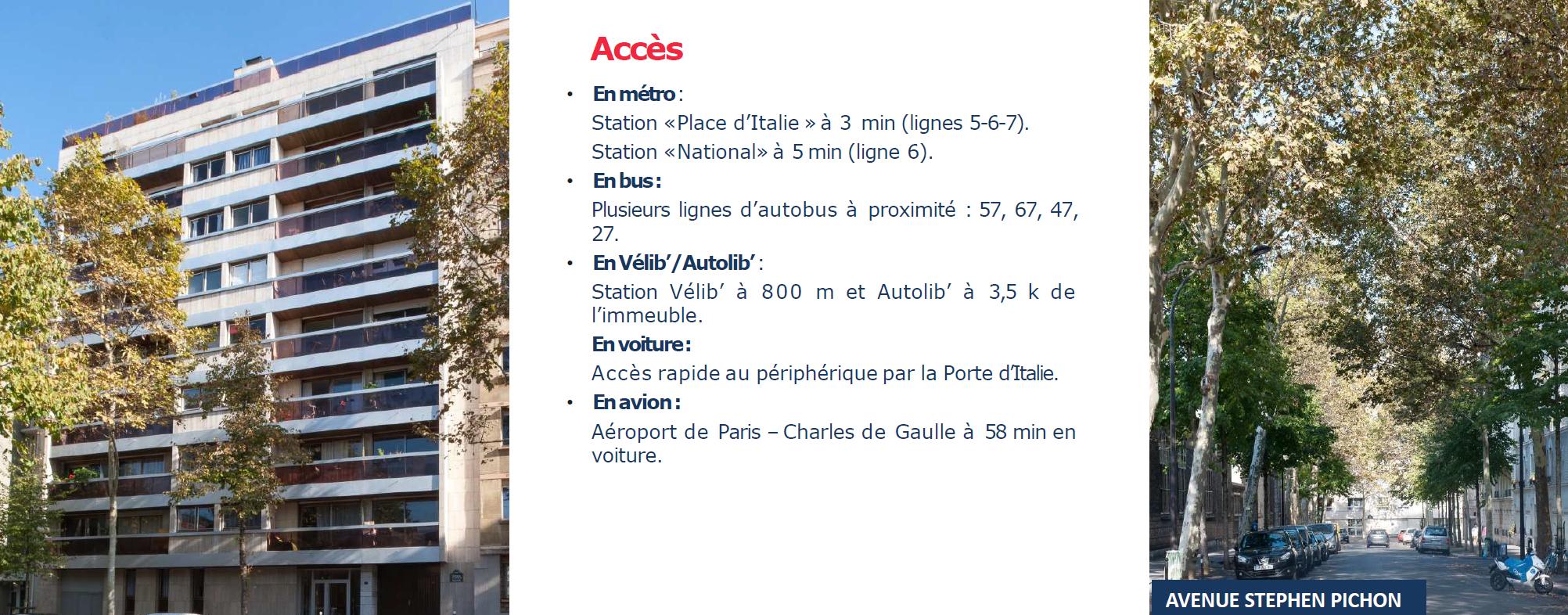 Paris 13e investissement Av Pichon, Acces
