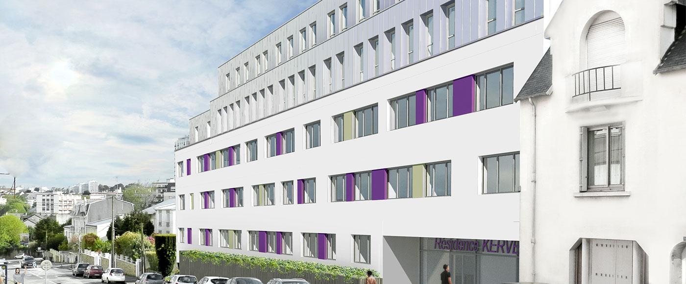 Vue perspective residence etudiante Brest Kervern - Investir Studio