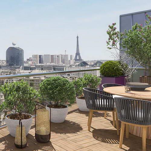 Vue Tour Eiffel Balcon Investissement Issy